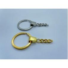 Luxe sleutelhanger ketting met ring Goud