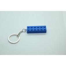Sleutelhanger XL legoblok 2x6 Blauw (donker) - Graveren en naam ingekleurd