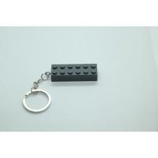 Sleutelhanger XL legoblok 2x6 Grijs (donker) - Graveren en naam ingekleurd