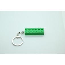 Sleutelhanger XL legoblok 2x6 Groen - Graveren en naam ingekleurd