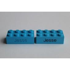 Legoblok 2x4 Blauw (licht) - Graveren en tekst ingekleurd