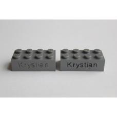 Legoblok 2x4 Grijs (donker) - Graveren en tekst ingekleurd