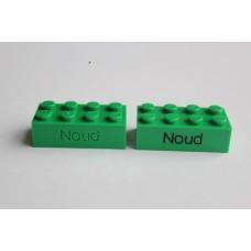 Legoblok 2x4 Groen (donker) - Graveren en tekst ingekleurd