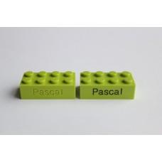 Legoblok 2x4 Groen (licht) - Graveren en tekst ingekleurd