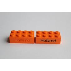 Legoblok 2x4 Oranje - Graveren en tekst ingekleurd
