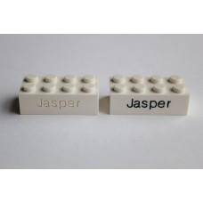 Legoblok 2x4 Wit - Graveren en tekst ingekleurd