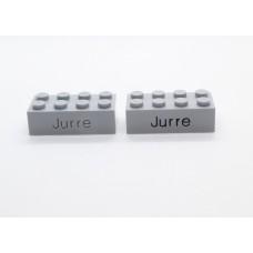 Legoblok 2x4 Grijs (licht) - Graveren en tekst ingekleurd