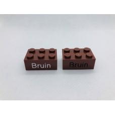 Legoblok 2x3 Bruin - Graveren en tekst ingekleurd
