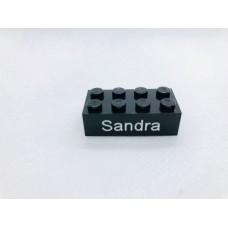 Legoblok 2x4 Zwart - Graveren en tekst ingekleurd