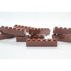 Legoblok 1x6 Bruin - Graveren en tekst ingekleurd