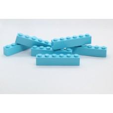 Legoblok 1x6 Cyaan - Graveren en tekst ingekleurd
