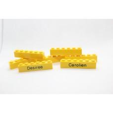 Legoblok 1x6 Geel - Graveren en tekst ingekleurd
