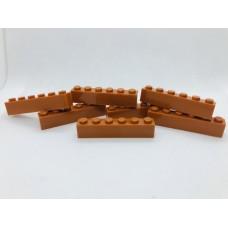 Legoblok 1x6 Oranje (donker) / Bruin (licht) - Graveren en tekst ingekleurd