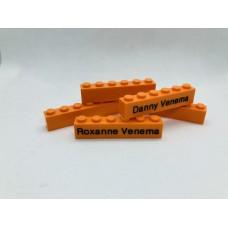Legoblok 1x6 Oranje - Graveren en tekst ingekleurd