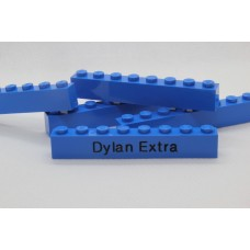 Legoblok 1x8 Blauw - Graveren en tekst ingekleurd