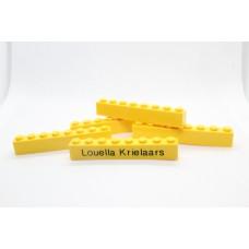 Legoblok 1x8 Geel - Graveren en tekst ingekleurd