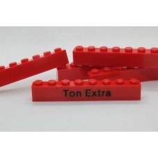 Legoblok 1x8 Rood - Graveren en tekst ingekleurd