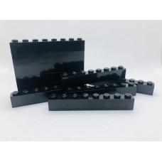 Legoblok 1x8 Zwart - Graveren en tekst ingekleurd