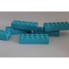 Legoblok 2x6 Cyaan - Graveren en tekst ingekleurd