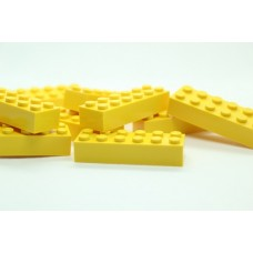 Legoblok 2x6 Geel - Graveren en tekst ingekleurd