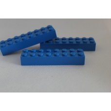 Legoblok 2x8 Blauw - Graveren en tekst ingekleurd