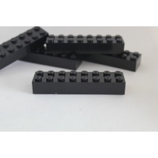 Legoblok 2x8 Zwart - Graveren en tekst ingekleurd