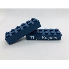 Legoblok 2x6 Blauw (donker) - Graveren en tekst ingekleurd