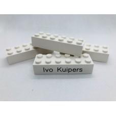 Legoblok 2x6 Wit - Graveren en tekst ingekleurd