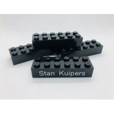 Legoblok 2x6 Zwart- Graveren en tekst ingekleurd