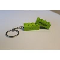 Sleutelhanger legoblok 2x4 Groen (licht) - Graveren en naam ingekleurd