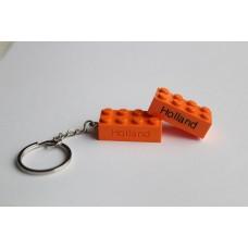 Sleutelhanger legoblok 2x4 Oranje - Graveren en naam ingekleurd