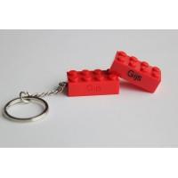 Sleutelhanger legoblok 2x4 Rood - Graveren en naam ingekleurd