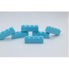 Legoblok 1x4 Cyaan - Graveren en tekst ingekleurd