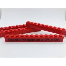 Legoblok 1x12 Rood - Graveren en tekst ingekleurd