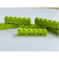Legoblok 1x6 Groen (licht) - Graveren en tekst ingekleurd