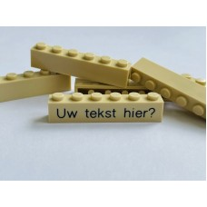 Legoblok 1x6 Zand - Graveren en tekst ingekleurd