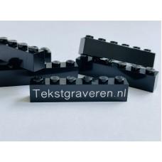 Legoblok 1x6 Zwart - Graveren en tekst ingekleurd