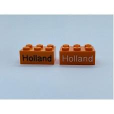 Legoblok 2x3 Oranje - Graveren en tekst ingekleurd