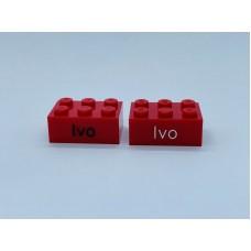 Legoblok 2x3 Rood - Graveren en tekst ingekleurd