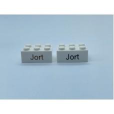 Legoblok 2x3 Wit - Graveren en tekst ingekleurd