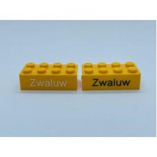 Legoblok 2x4 Oranje Geel - Graveren en tekst ingekleurd