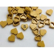 Legotegel 1x1 Goud (hartje) - Graveren en tekst ingekleurd