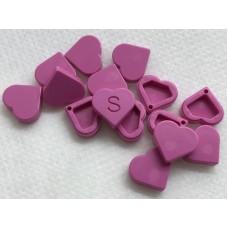 Legotegel 1x1 Roze (hartje) - Graveren en tekst ingekleurd