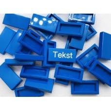 Legotegel 1x2 Blauw - Graveren en tekst ingekleurd