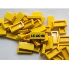 Legotegel 1x2 Geel - Graveren en tekst ingekleurd