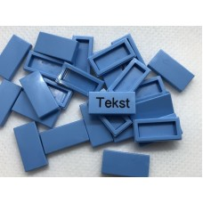 Legotegel 1x2 Blauw (licht) - Graveren en tekst ingekleurd