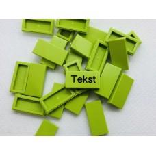 Legotegel 1x2 Groen (licht) - Graveren en tekst ingekleurd