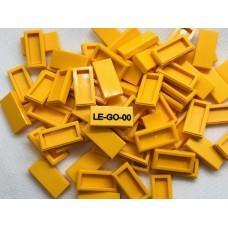Legotegel 1x2 Oranje Geel - Graveren en tekst ingekleurd