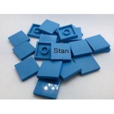 Legotegel 2x2 Blauw (licht) - Graveren en tekst ingekleurd