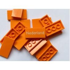 Legotegel 2x4 Oranje - Graveren en tekst ingekleurd